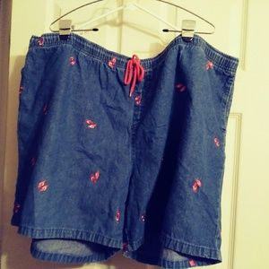 Pants - Ladies elastic waist denim shorts